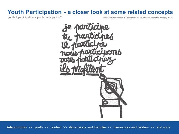 Youth Participation - a closer look at some related concepts youth & participation = youth participation?              Wor...