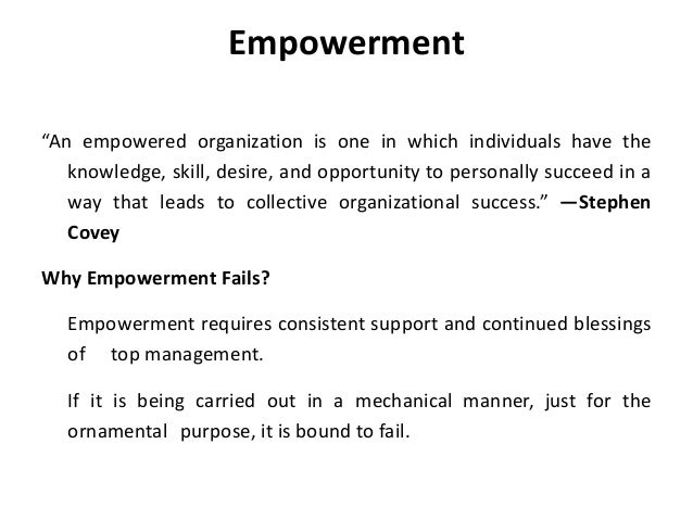 an analysis of empowerment and participation We explore two such factors, empowerment and employee involvement  we  provide an analysis of a variety of perspectives and options that may be applied.