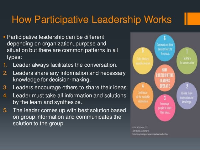 How Participative Leadership Works  Participative leadership can be different depending on organization, purpose and situ...