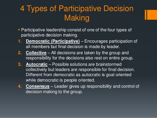 4 Types of Participative Decision Making  Participative leadership consist of one of the four types of participative deci...