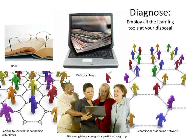 Diagnose: Employ all the learning tools at your disposal Books Web searching Looking to see what is happening around you B...