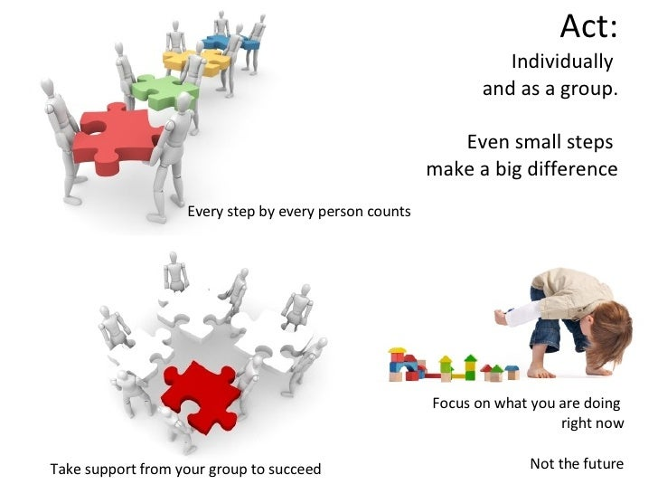 Act: Individually  and as a group.   Even small steps  make a big difference Take support from your group to succeed  Focu...