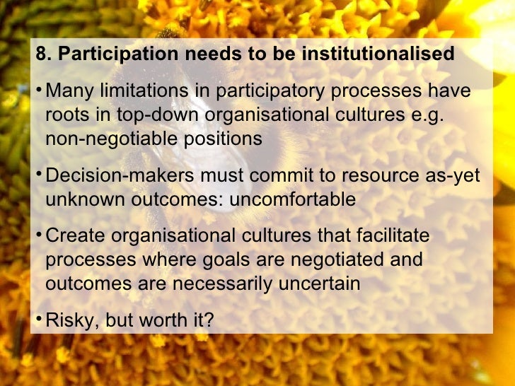participatory methods Participatory approaches to planning community interventions chapter 18 sections support has to be provided when it's needed, conflicts have to be resolved, methods have to be devised to keep the process reasonably efficient participatory methods is a website that.