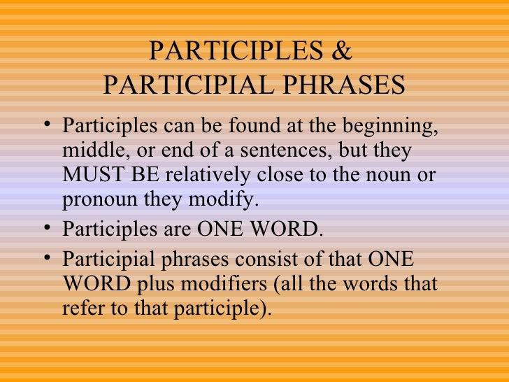 Participles Power Point 8