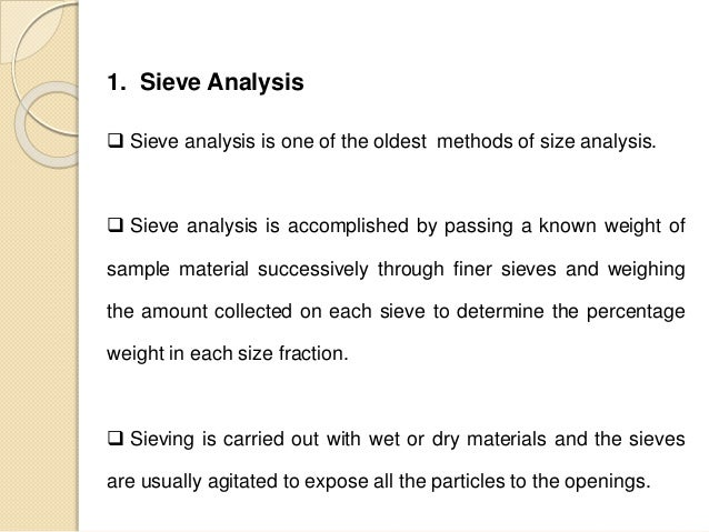 sieve analysis test lab report Physical and plasticity characteristics by all the groups in the laboratory class are of a given soil sample by performing a sieve analysis test.