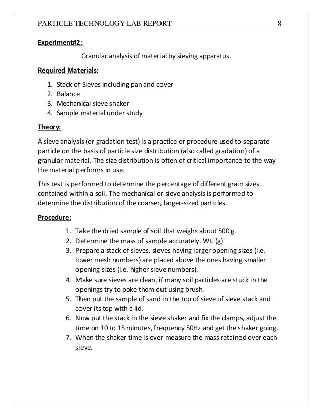soil lab report Soil texture what are my goals for today's laboratory 1 cylinder on the lab bench and allow the particles of soil to begin to gradually.