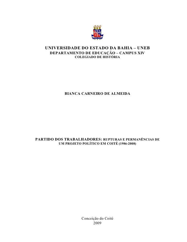1    UNIVERSIDADE DO ESTADO DA BAHIA – UNEB      DEPARTAMENTO DE EDUCAÇÃO – CAMPUS XIV                 COLEGIADO DE HISTÓR...