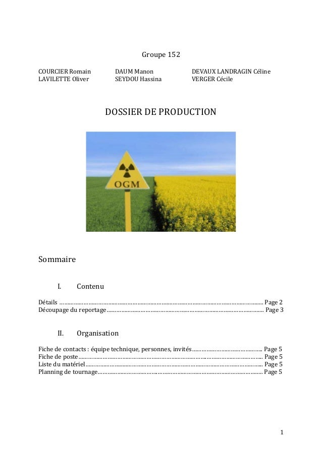 DOSSIER DE PRODUCTION