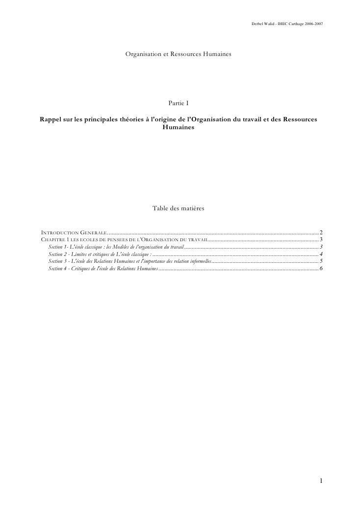 Derbel Walid - IHEC Carthage 2006-2007                                                       Organisation et Ressources Hu...