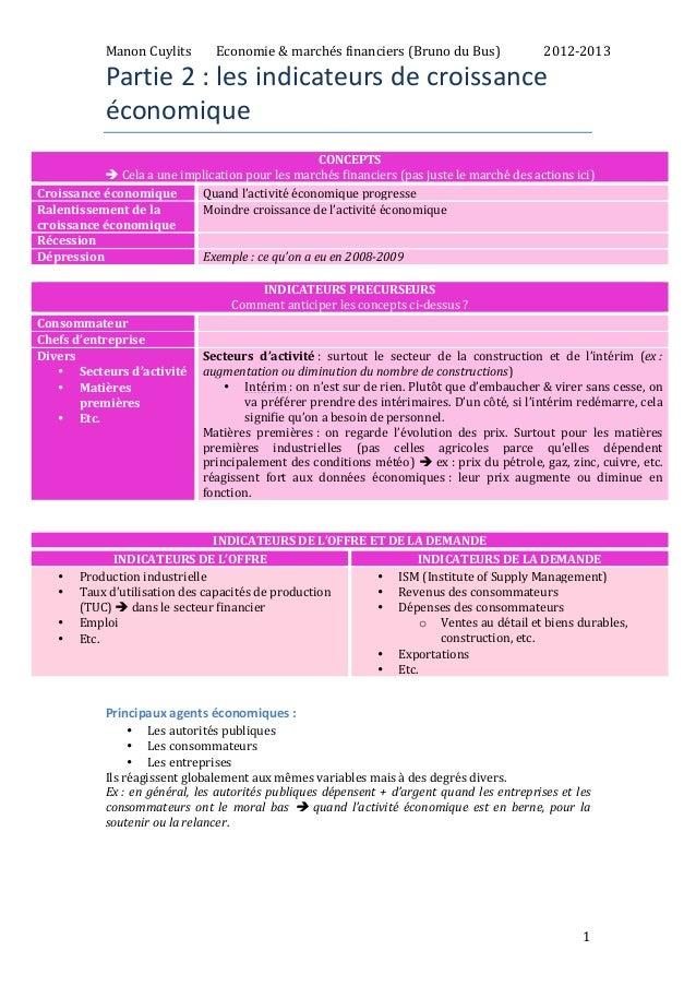 Manon  Cuylits  Economie  &  marchés  financiers  (Bruno  du  Bus)  2012-‐2013  1  Partie  2  :  les  indicateurs  de  cr...