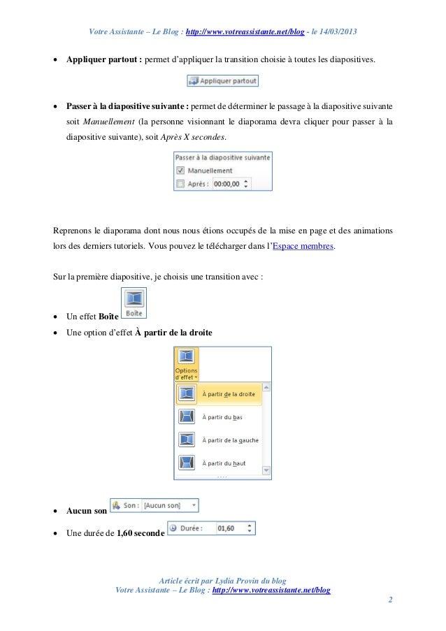 Créer son premier diaporama PowerPoint – Partie 3/4 – Créer des transitions entre les diapositives Slide 2