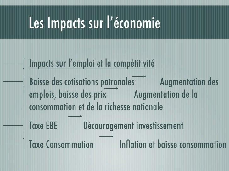 Les Impacts sur l'économieLes Impacts à court termeCVA, Modulation, CPG        Création de 28000 emplois,incitation à la c...