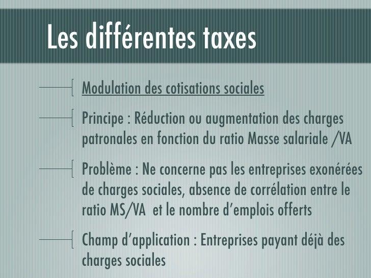 Les différentes taxesLe coefficient emploi-activitéPrincipe : Prélèvement assis sur le CA diminués desrémunérationsProblème...