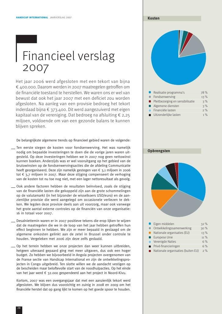 HANDICAP INTERNATIONAL JAARVERSLAG 2007                                       Kosten     Financieel verslag     2007Het ja...