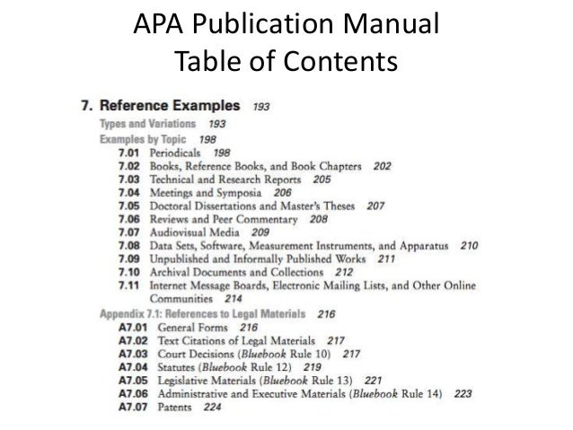 apa table of contents