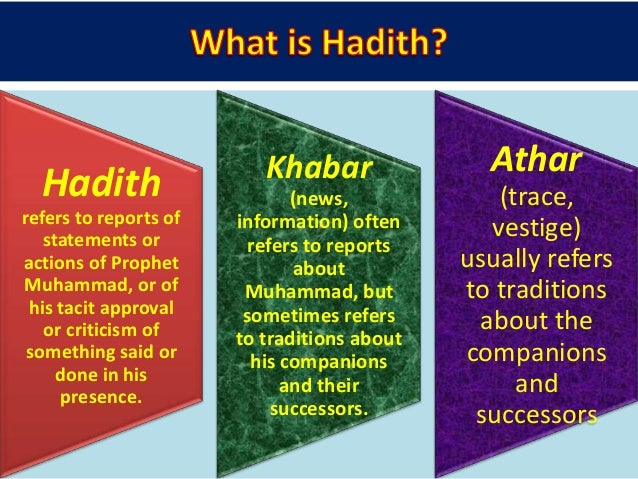 -Matn or the text- which contains the actual narrative -Isnad (pleural of Sanad) or the chain of narrators-which documents...