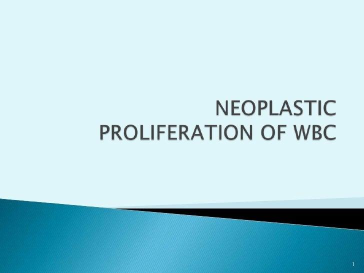 NEOPLASTIC PROLIFERATION OF WBC<br />1<br />
