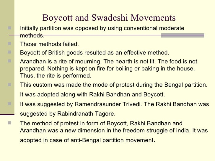 Swadeshi and boycott movement essay