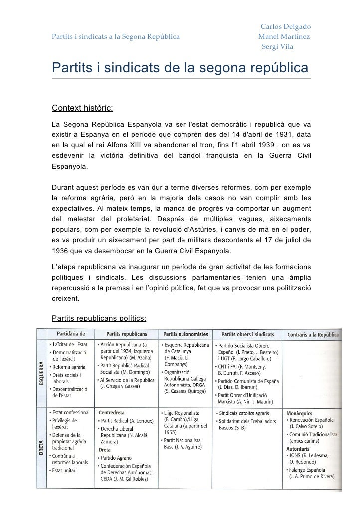 Carlos Delgado Partits i sindicats a la Segona República                         Manel Martínez                           ...