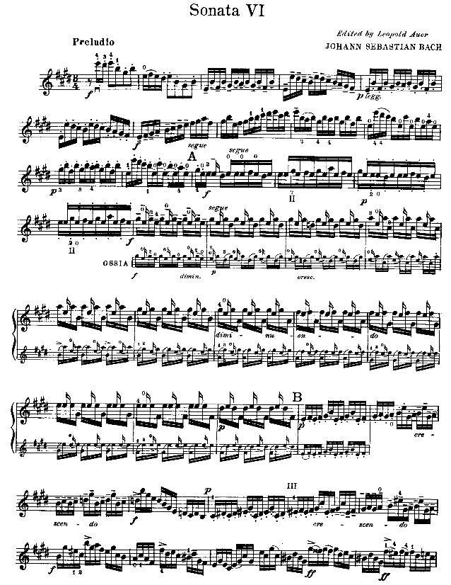Partitura   bach - preludio em mi maior de partita no. 3