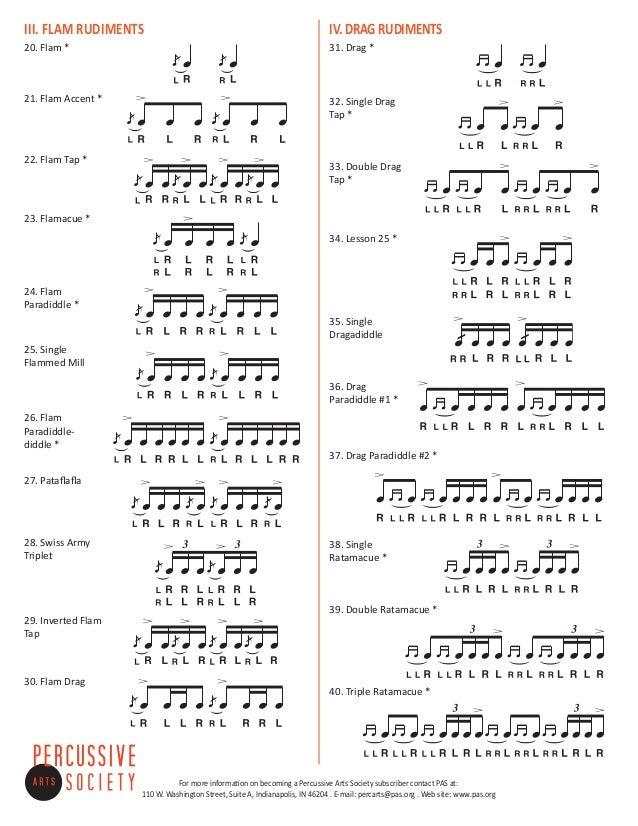 TECHNIQUES et MUSIQUES, IMPROVISATION pour GUITARE. 5 doigts main droite (6, 7 & 8 strings) 40-percussive-arts-society-international-drum-rudiments-2-638