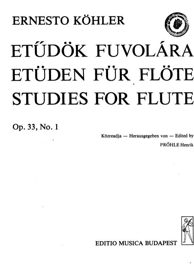 Partitura e. köhler, 15 estudos para flauta, op 33, no.1