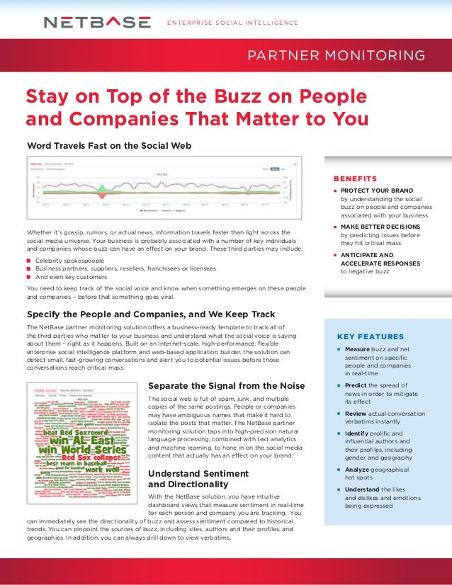 ENTERPRISE SOCIAL INTELLIGENCE  PARTNER MONITORING  Stay on Top of the Buzz on People and Companies That Matter to You Wor...