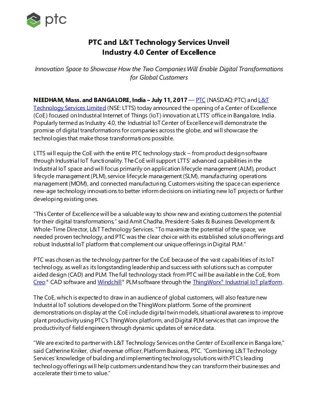PTC and L&T Technology Services Unveil Industry 4.0 Center of Excellence Innovation Space to Showcase How the Two Companie...