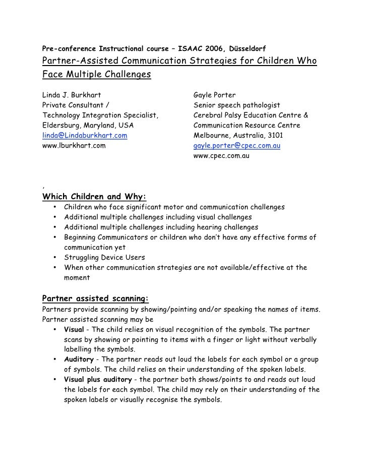 Pre-conference Instructional course – ISAAC 2006, DüsseldorfPartner-Assisted Communication Strategies for Children WhoFace...