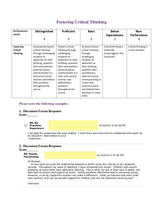 Fostering Critical ThinkingPerformance         Distinguished            Proficient             Basic               Below  ...