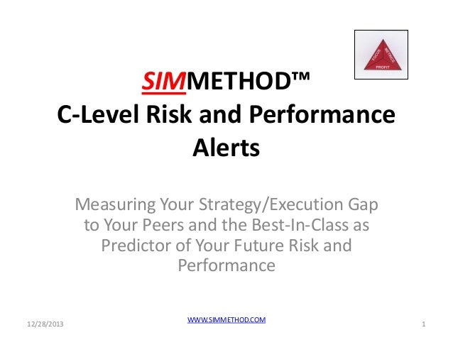 SIMMETHOD™ C-Level Risk and Performance Alerts Measuring Your Strategy/Execution Gap to Your Peers and the Best-In-Class a...