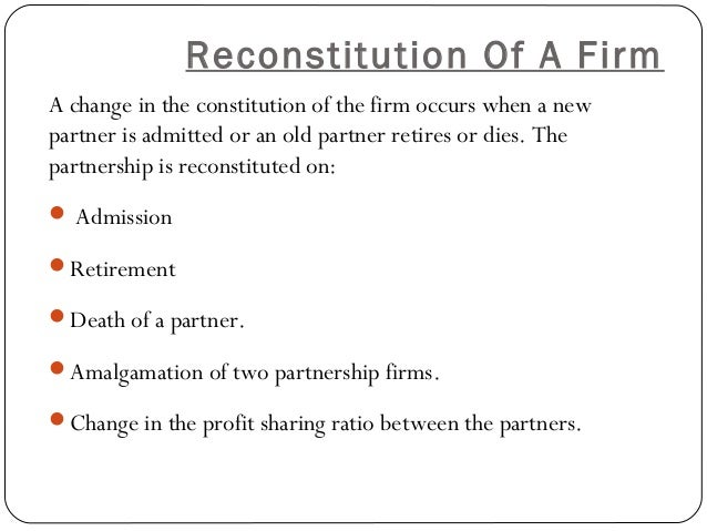 Reconstitution and dissolution partnership
