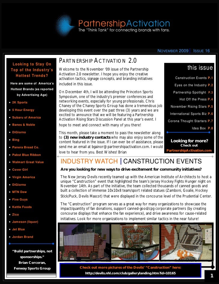 NOVEMBER 2009       ISSUE 16     L o o k i n g t o St a y O n                                       PARTNERSHIP ACTIVATION...