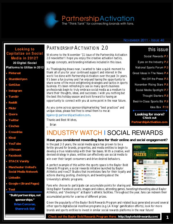 NOVEMBER 2011 - ISSUE 40    Looking to                 PARTNERSHIP ACTIVATION 2.0                                         ...