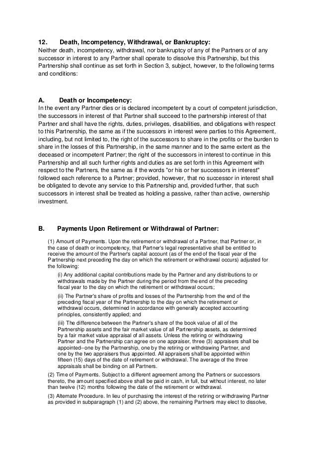 Partnership Agreement / Articles Of Partnership