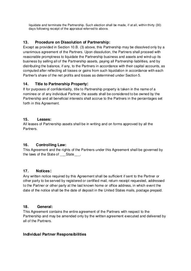 Partnership Agreement  Articles Of Partnership