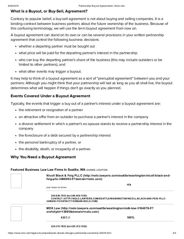 Partnership Buyout Agreements