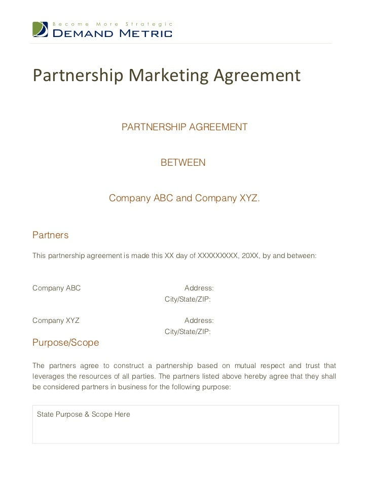 partnership marketing agreement. Black Bedroom Furniture Sets. Home Design Ideas