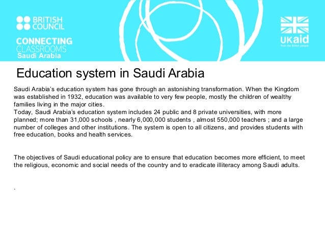 essay about education system in saudi arabia Saudi arabia's education system compared with the australian essaysthe saudi arabian education system and australian education system have many similarities and many.