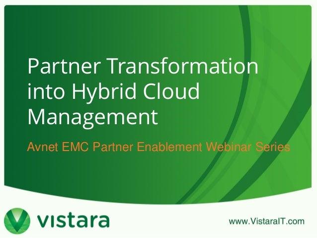 Partner Transformation into Hybrid Cloud Management Avnet EMC Partner Enablement Webinar Series