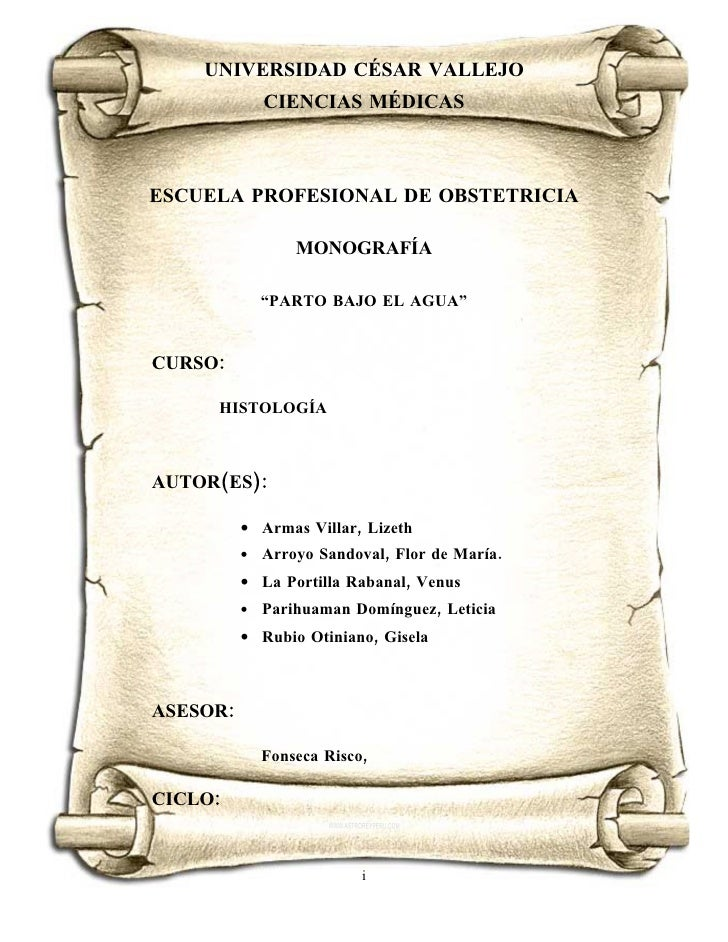 UNIVERSIDAD CÉSAR VALLEJO              CIENCIAS MÉDICASESCUELA PROFESIONAL DE OBSTETRICIA                  MONOGRAFÍA     ...