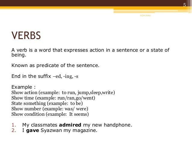 Worksheets Example Of Verbs In Sentence english part of speech verbs