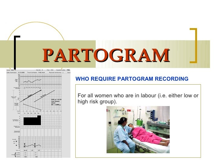 PARTOGRAM  WHO REQUIRE PARTOGRAM RECORDING  For all women who are in labour (i.e. either low or  high risk group).