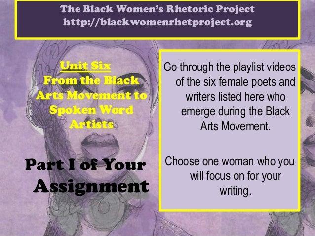 The Black Women's Rhetoric Project    http://blackwomenrhetproject.org    Unit Six          Go through the playlist videos...