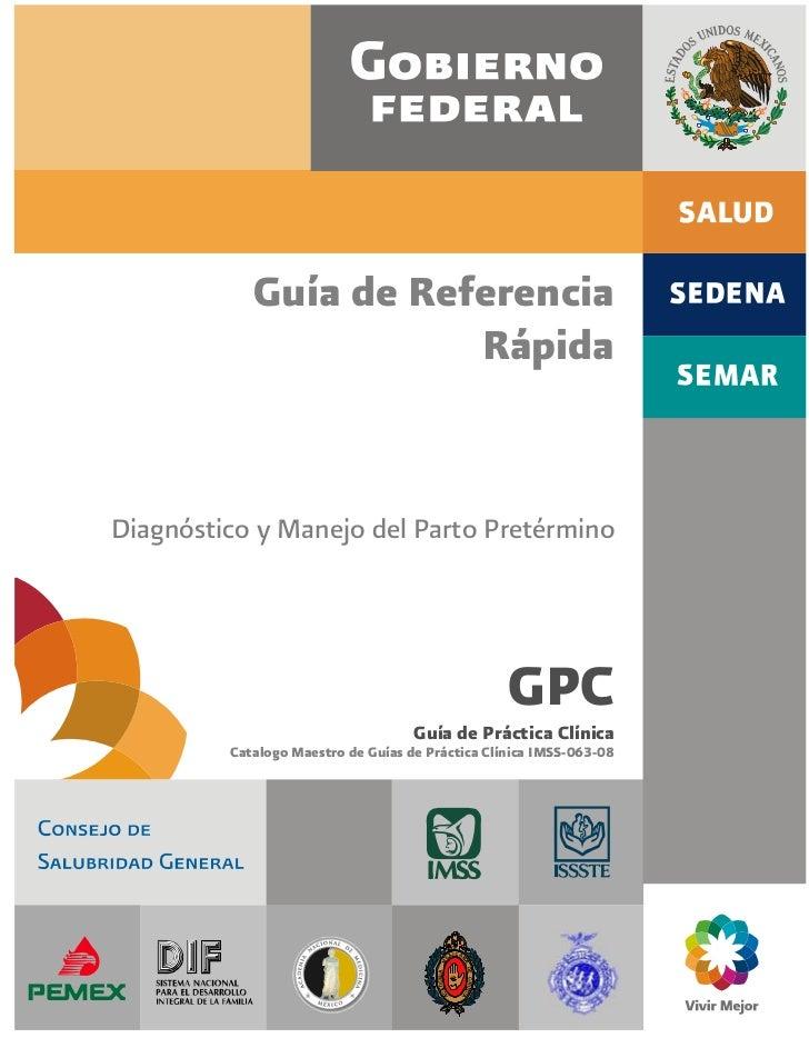 Guía de Referencia                       RápidaDiagnóstico y Manejo del Parto Pretérmino                                  ...
