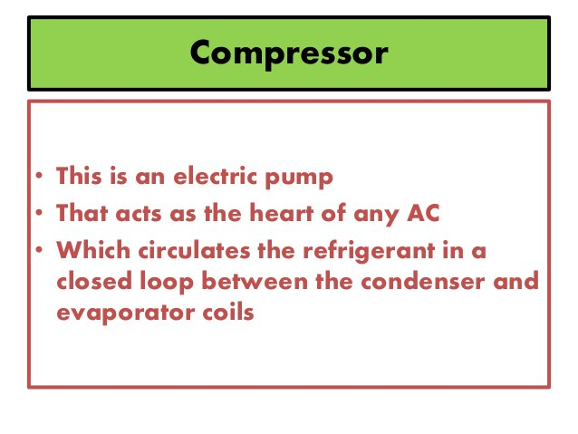 Compressor • This is an electric pump • That acts as the heart of any AC • Which circulates the refrigerant in a closed lo...
