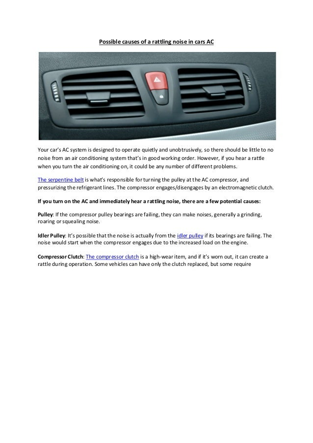 Partsavatar, Canada - Possible causes of a rattling noise in cars ac