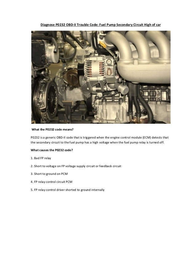 Partsavatar Car Parts, canada - Diagnose P0232 OBD-II