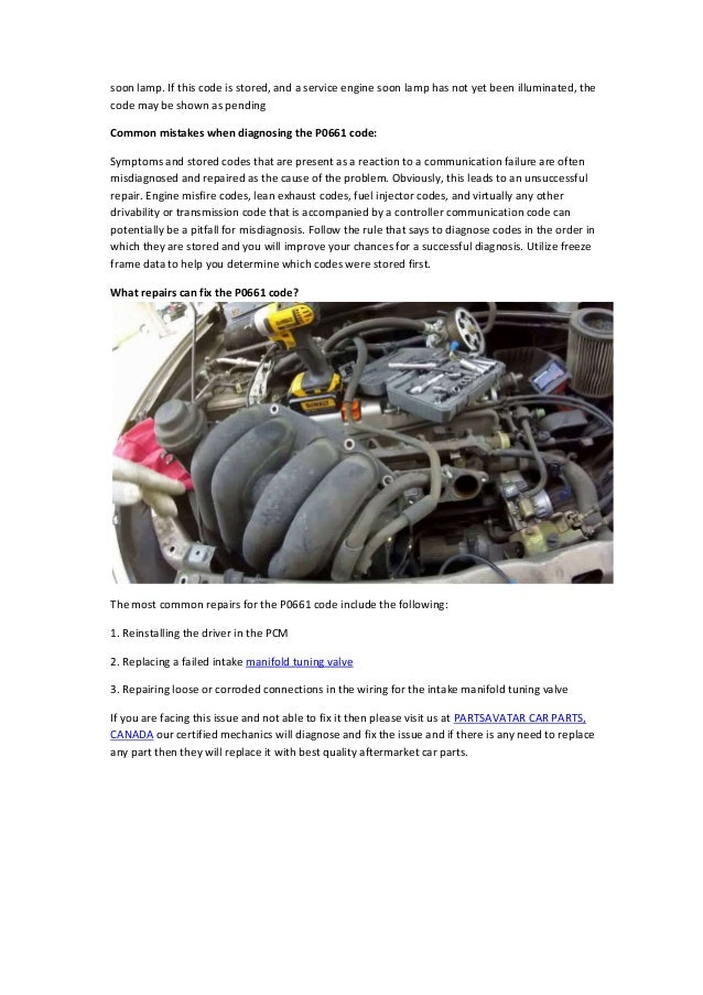 Partsavatar, Canada - Diagnose P0661 OBD-II Trouble Code