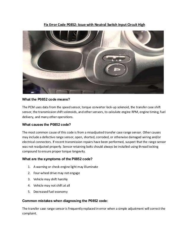 Partsavatar, Toronto - Fix Error Code P0852 Issue with Neutral Switch…